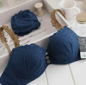 underwear,cotton,button,bra and pantie set,blue underwear