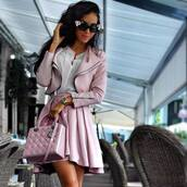 skirt,rose,cute,bag,sunglasses,jacket,pastel,pastel pink,pink bag,pink,pink skirt,leather,style,mini skirt,skater skirt,pink leather,fashion,leather skirt,leather jacket,pink jacket,hair accessory,purse,handbag,outfit,summer outfits,tumblr outfit,winter outfits,office outfits,fall outfits,date outfit,spring outfits,cute outfits,outfit idea,white,white top,white t-shirt,white shirt,flowers