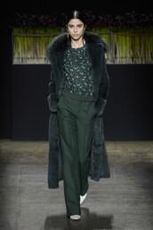 pants,coat,wide-leg pants,fur,fur coat,NY Fashion Week 2016,runway,fashion week 2016