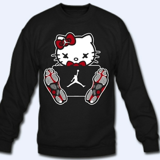 sweater bows hello kitty jordans black sweater red