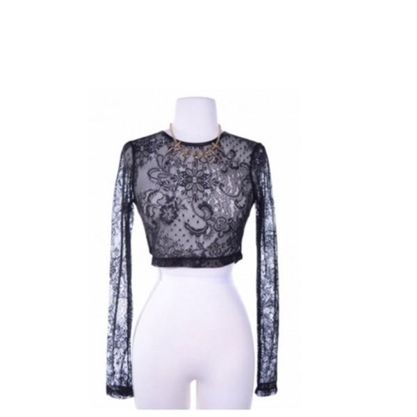 blouse lace lace shirt crop tops lace crop top