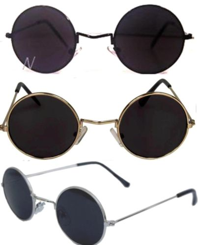 John Lennon Sunglasses Round Hippie Shades Retro Smoked Lenses Gold Black Silver | eBay