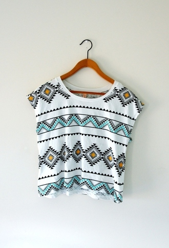 shirt hipster tropical tribal pattern oversized t-shirt loose tshirt white pink light blue scoop neck triangle shapes blouse top t-shirt aztec pattern