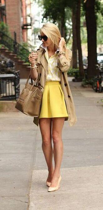 skirt trench coat yellow blouse classy