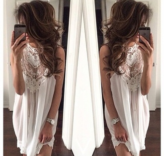 blouse elegant white crochet dress