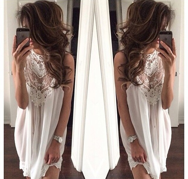 blouse elegant white crochet dress white dress lace dress mini dress