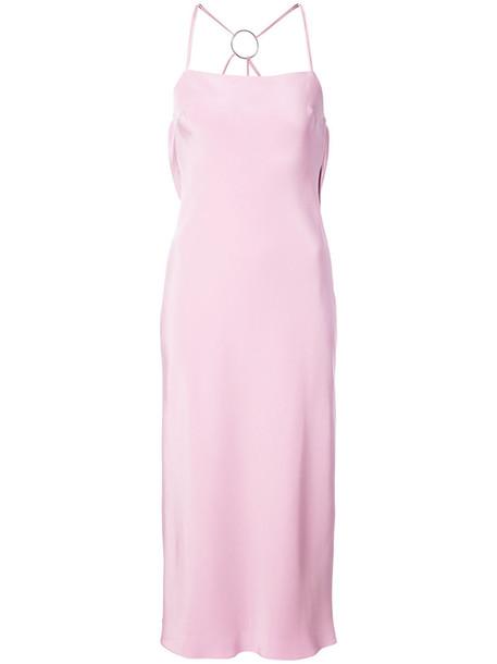 dress midi dress back women midi draped silk purple pink