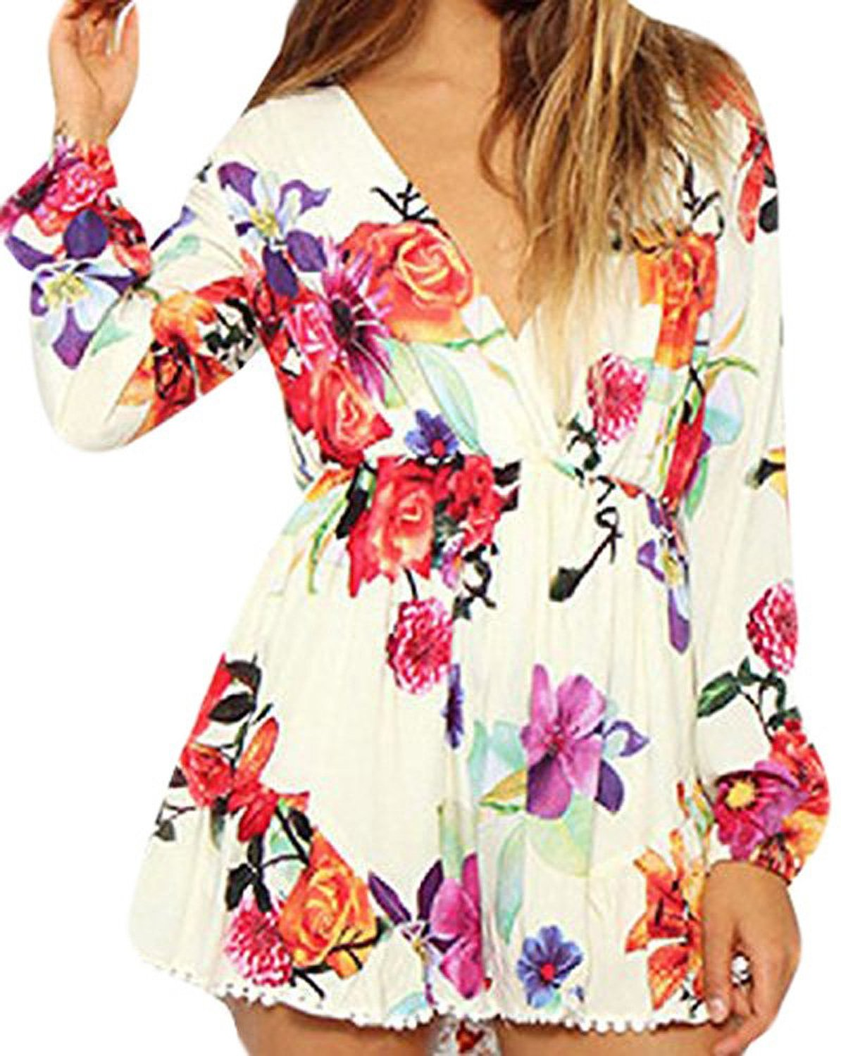 Amazon.com: Lovaru Women's Long Sleeve Floral Rompers: Clothing