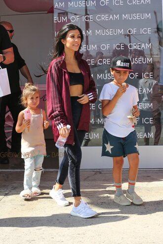 jacket kardashians kourtney kardashian adidas burgundy workout