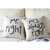 sweater,mr,home decor,pillow,home accessory,matching couples,mrs.,valentines day,quote on it pillow,bridal shower gifts,engagement party gift,wedding gift,love,marriage,engagment,couple,bridal,bridal gift,Dusty Junk