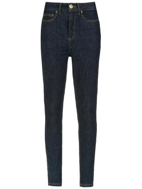 jeans skinny jeans high women spandex cotton blue