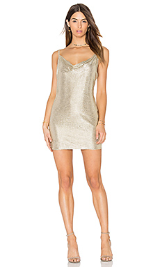 Amanda Uprichard Bowie Dress in Champagne Lurex from Revolve.com