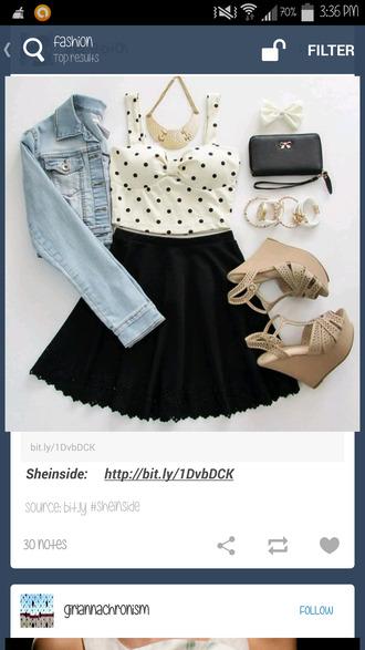 bag black bag gold bows blouse skirt jacket shoes top jewels coat