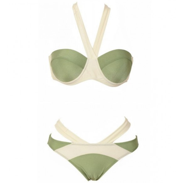 Color Block Cupped Bikini Set at Style Moi
