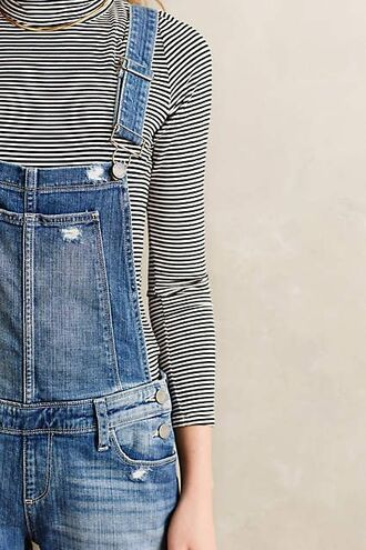 jumpsuit ripped denim denim overalls overalls 90s style striped sweater turtleneck jeans