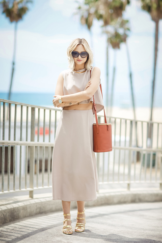 late afternoon blogger top skirt bag sunglasses shoes jewels