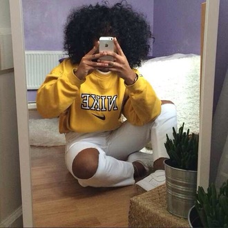 sweater nike sweater nike crewneck natural hair yellow shoes outfit dope curly hair ring
