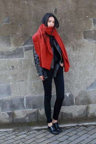 scarf red scarf leather jacket black jeans black mules blogger