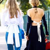 dress,tumblr,streetstyle,black dress,knitwear,knitted dress,open back,open back dresses,backless dress,backless,shirt,white shirt,bow,denim,jeans,blue jeans,girl squad,black knit dress