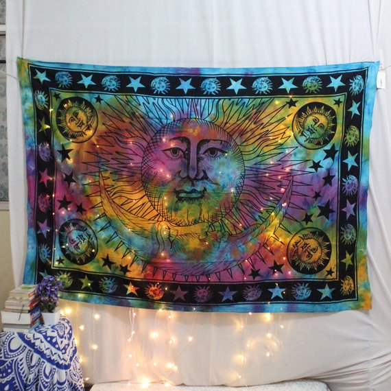 sun moon Tapestry Tie dye Sun Wall tapestry Wall decor Dorm Wall hanging Hippie decorative art celestial Indian Tapestry Bohemian tapestries