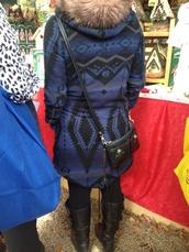 coat,blue tribal coat fur hood