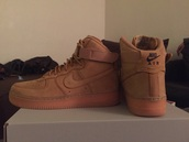 shoes,suede,nike,flax,nike air force 1,nike shoes,nike air force 1 high top,camel,sneakers