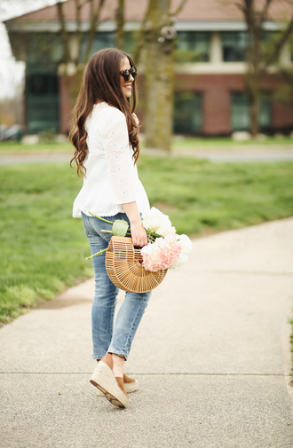 dress corilynn blogger top jeans bag shoes sunglasses jewels make-up wedges wedge sandals white blouse spring outfits