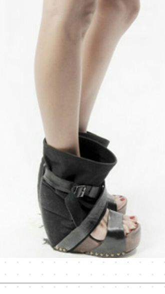 shoes black heels wedges alternative katvond punk shoes wood wedges