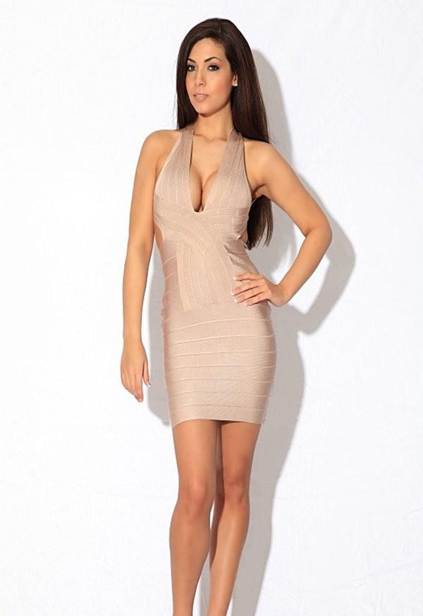 Tori nude v backless bandage dress