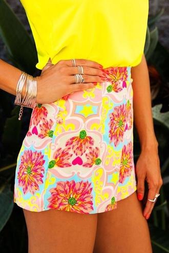 shorts flowered shorts cute yellow shorts pink shorts pretty