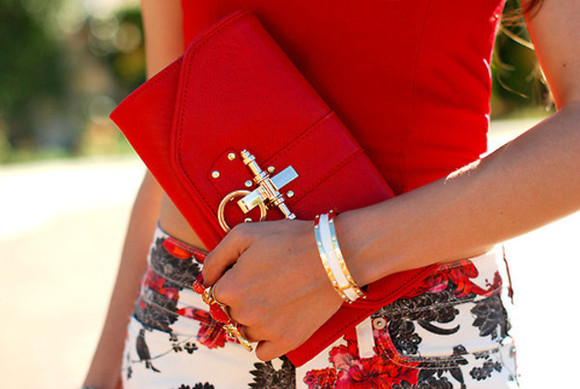 bag floral clutch golden red accessories