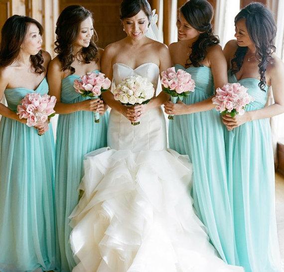 Mint bridesmaid dresses sexy long mint chiffon by fashionstreets