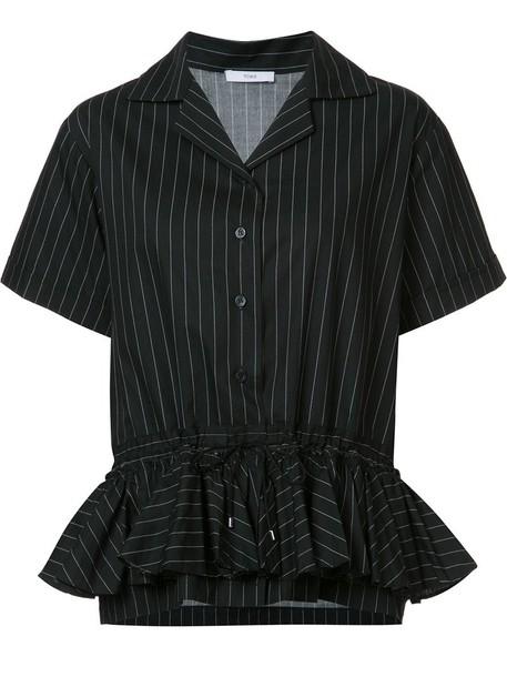shirt striped shirt pleated women cotton black top