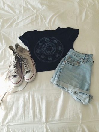 shirt black short blue jeans converse boho urban find exact love outfit tumblr
