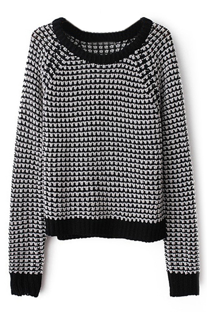 Contrast Trimming Houndstooth Print Jumper | Pariscoming