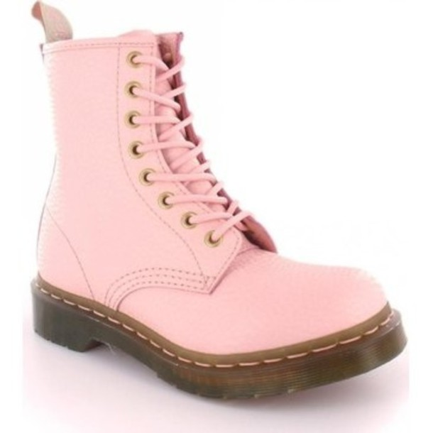 shoes drmartens pastel pink boots wheretoget