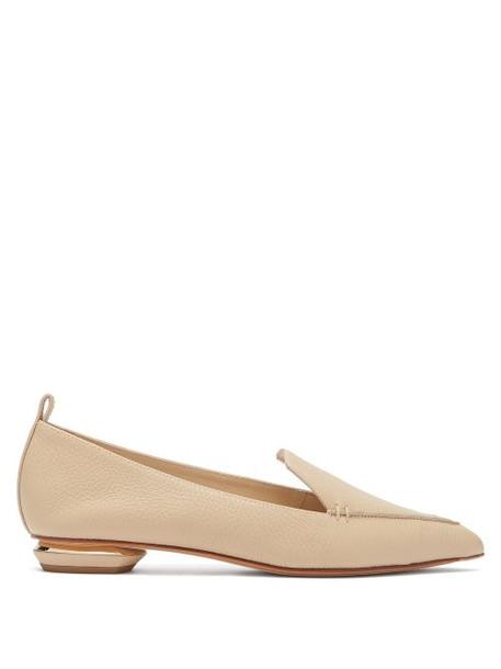 Nicholas Kirkwood - Beya Grained Leather Loafers - Womens - Light Beige