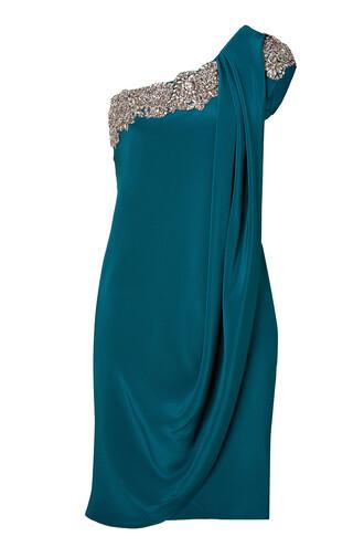 dress one shoulder dress embroidered silk teal blue