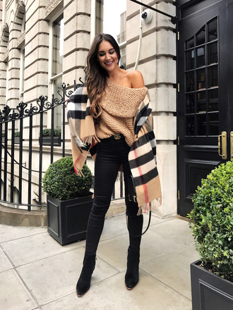 sweater scarf tumblr chunky knit nude sweater off the shoulder off the shoulder top denim jeans black jeans boots black boots