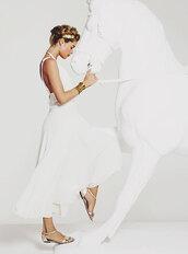 shoes,sandals,flat sandals,gold sandals,Gold low heel sandals,dress,white dress,maxi dress,open back dresses,backless dress,hair accessory,doutzen kroes,model,cuff bracelet,bracelets