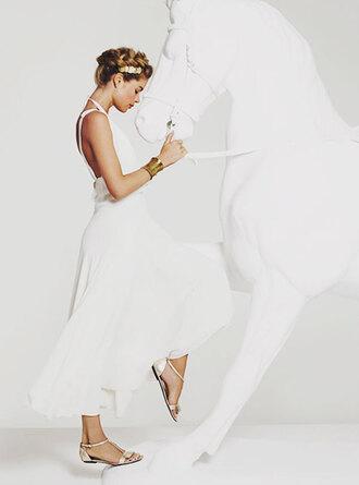 shoes sandals flat sandals gold sandals gold low heel sandals dress white dress maxi dress open back dresses backless dress hair accessory doutzen kroes model cuff bracelet bracelets