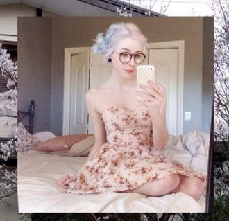 dress pastel goth floral dress cute strapless boho