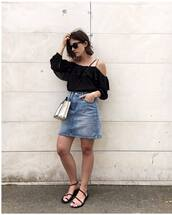 top,tumblr,black top,ruffle,skirt,mini skirt,denim,denim skirt,sandals,flat sandals,shoes