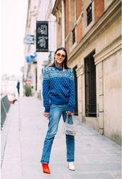 sweater,blue sweater,boots,bag,denim,blue jeans,jeans,transparent  bag,clear