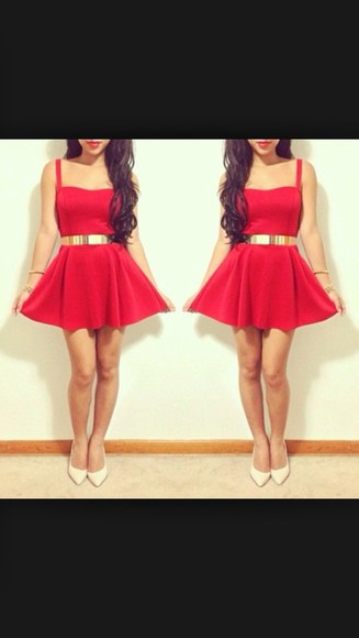 dress red dress beautiful red dress musthave goldbelt belt
