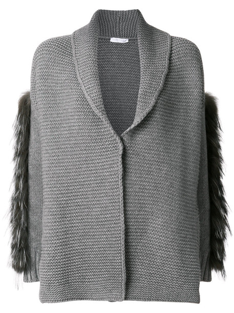 Fabiana Filippi cardigan cardigan fur fox women spandex silk grey sweater