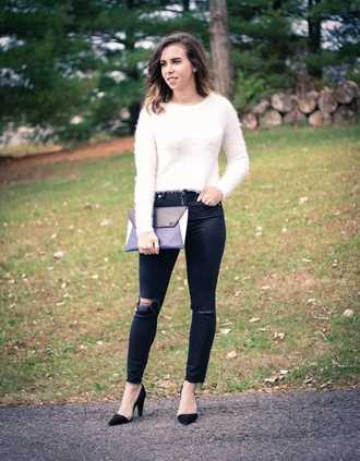 oh va darling blogger ripped pouch fuzzy sweater