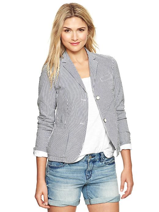 gap classic mini stripe seersucker blazer - blue & white stripe