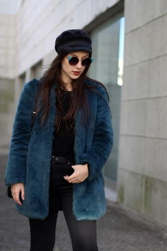 coat tumblr fur coat blue coat faux fur coat top black top denim jeans black jeans belt hat black hat fisherman cap sunglasses cat eye