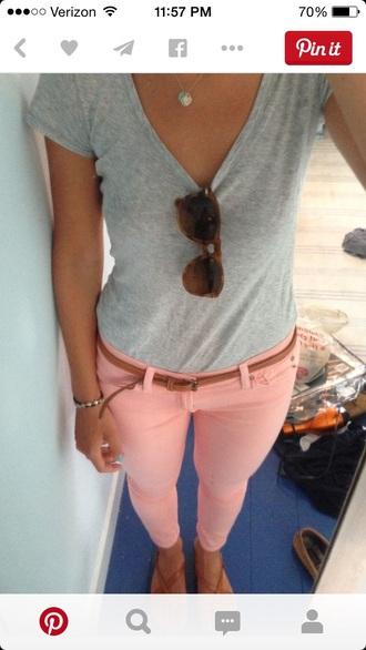 jeans pink peach coral pastel jeans shirt belt sunglasses